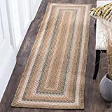 "Safavieh Braided Collection BRD314A Hand Woven Tan and Multi Runner, 2 feet 3 inches by 12 feet (2'3"" x 12')"