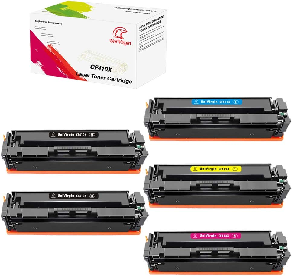 1 Combo 5PK-Set of Compatible 410X CF410X CF411X CF412X CF413X Toner Cartridge for HP Color Laserjet Pro MFP M477fdw M477fnw M477fdn, M452dw M452nw M452dn M377dw by UniVirgin –2BK+1C+1M+1Y