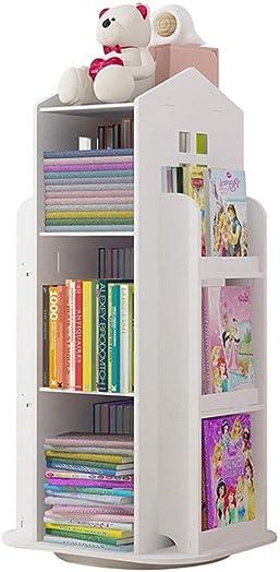 DIDI Bookshelf Gifts 3-Tier Rotating 360 Bookshelf Children's Bookcase,Floor Standing Storage Rack Shelf