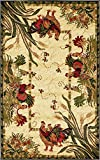 Unique Loom Barnyard Collection French Country Cottage Roosters Cream Area Rug (3' x 5')