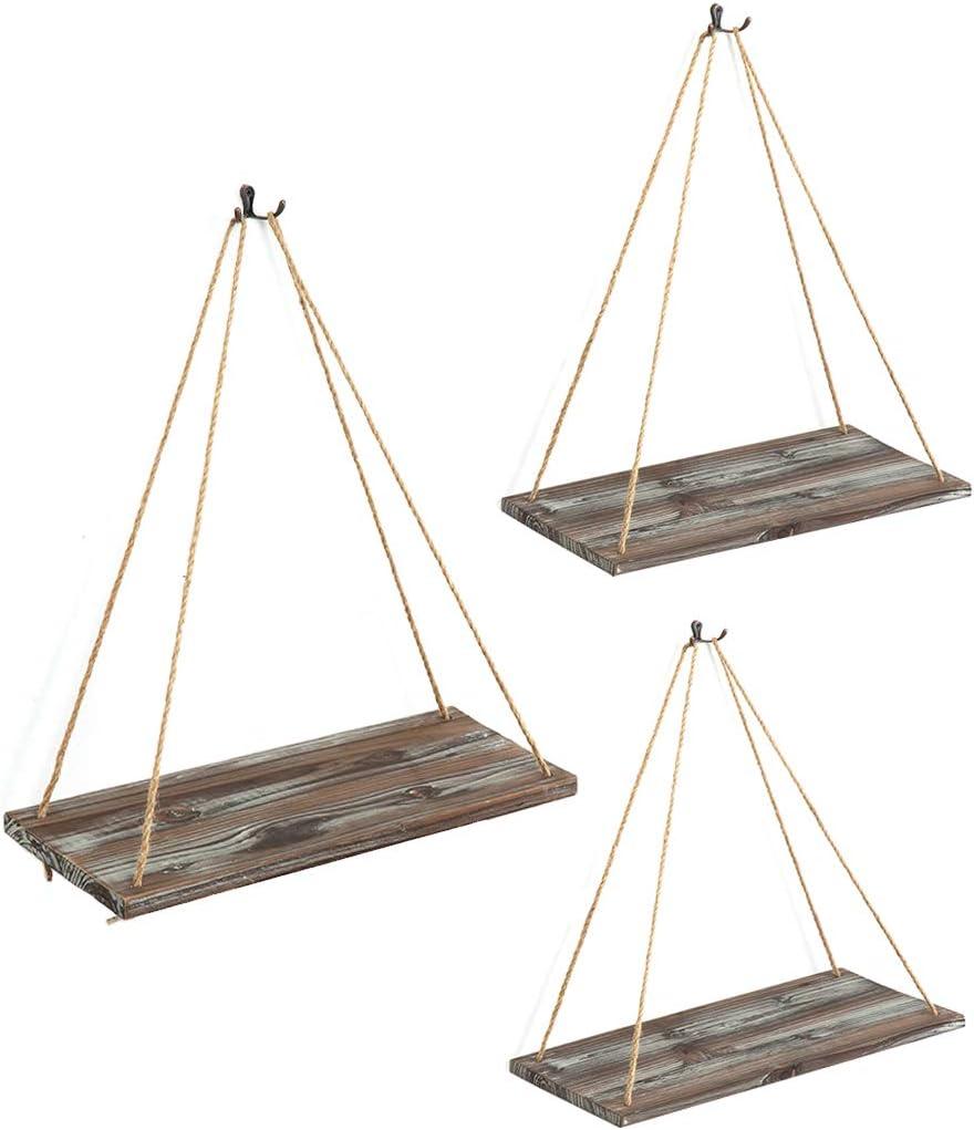 J JACKCUBE DESIGN Rustic Wood Hanging Shelves Set of 3 Farmhouse Bohemian Room D/écor Floating Rope Display Shelf Plant Holder for Living Room Bedroom Kitchen Rope Shelves MK555AAA