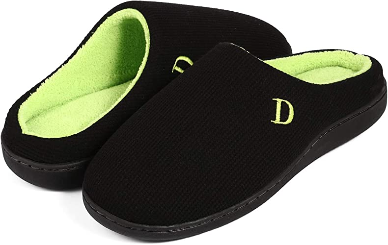 Ladies Memory Foam Comfort Cotton Knit House Shoes Light Weight Terry Cloth Loafer Slippers w//Anti-Skid Rubber Sole