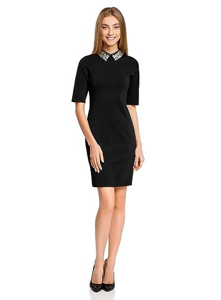 oodji Collection Mujer Vestido Ajustado con Pedrería Grande en el Cuello, Negro, ES 36