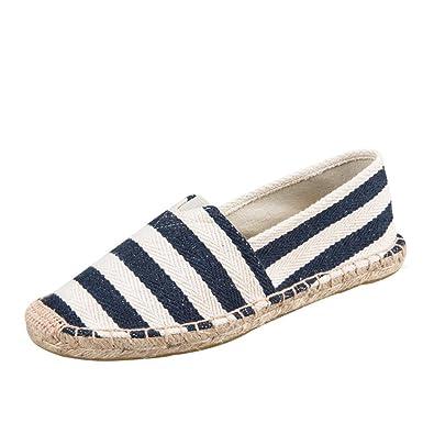 Schuhe Damen Flache Stiefel Gestreift Espadrilles Freizeitschuhe DOLDOA   Amazon.de  Schuhe   Handtaschen 189fa752b3