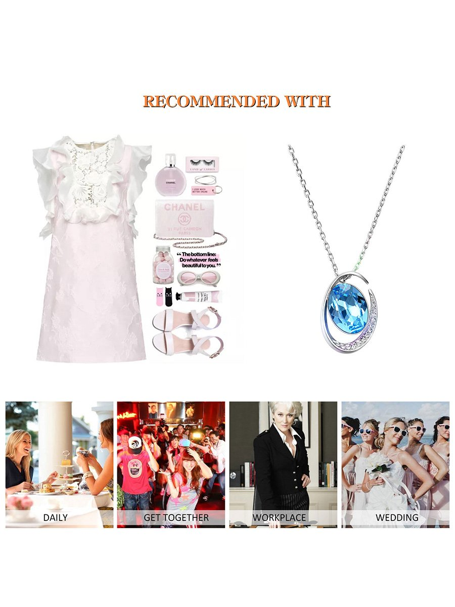 FANCYGIRL Jewelry Set Fashion Crystal Pendant Necklace Earring Set Silver Plated Jewelry Set For Women Girls