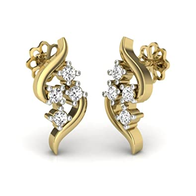 dbc8b474b Buy Perrian 18K Yellow Gold New Latest Designs Diamond Earring For Women  (VS Diamond Clarity And GH Color) Online at Low Prices in India | Amazon  Jewellery ...
