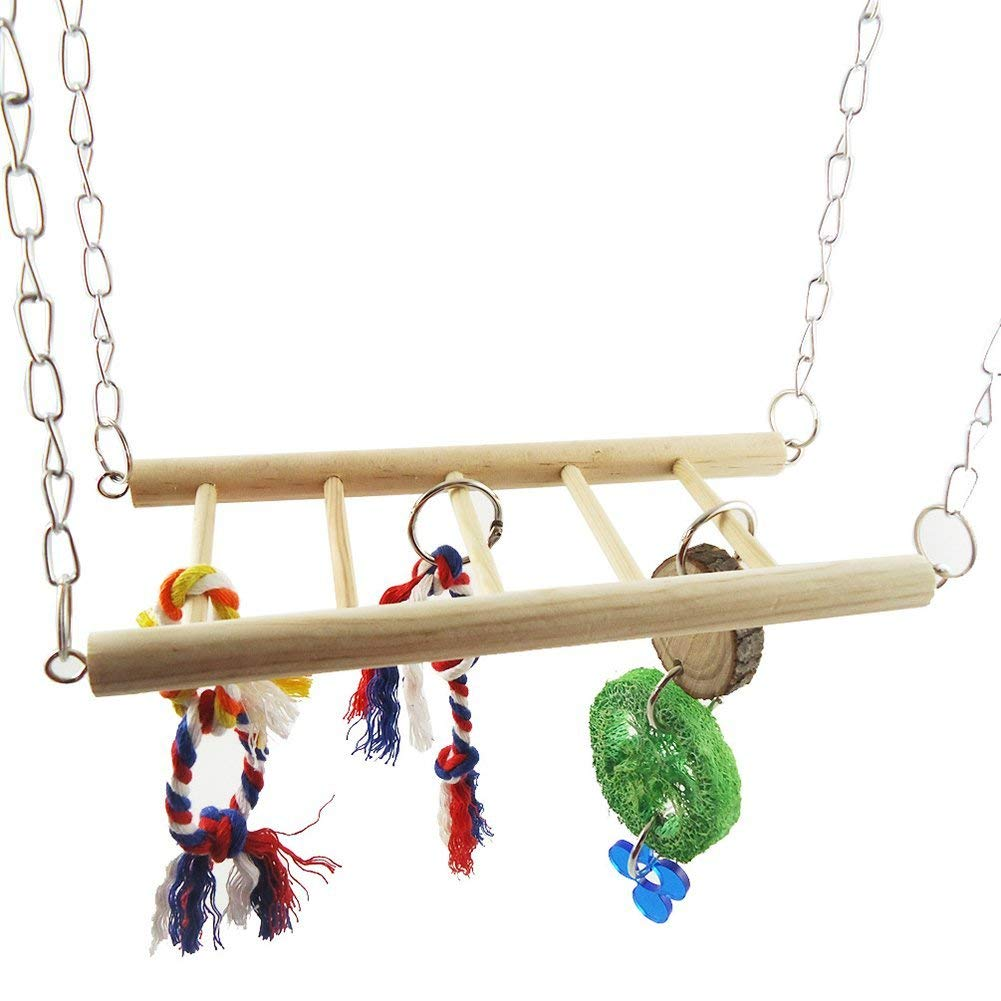 Parrot Hamster Hanging Ladder Bridge Cage Climbing Chew Play Toy Pet Supplies - Random Color Premium Quality by Yevison