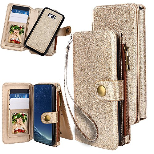 BluEra Galaxy S8 Plus Wallet Case - 11 Multi Card Holder, ID Slot, Cash Slot, Zipper, Wrist Lanyard, Folio PU Leather Cover With Detachable Magnetic Hard Case For Samsung Galaxy - Gold Hard Cash