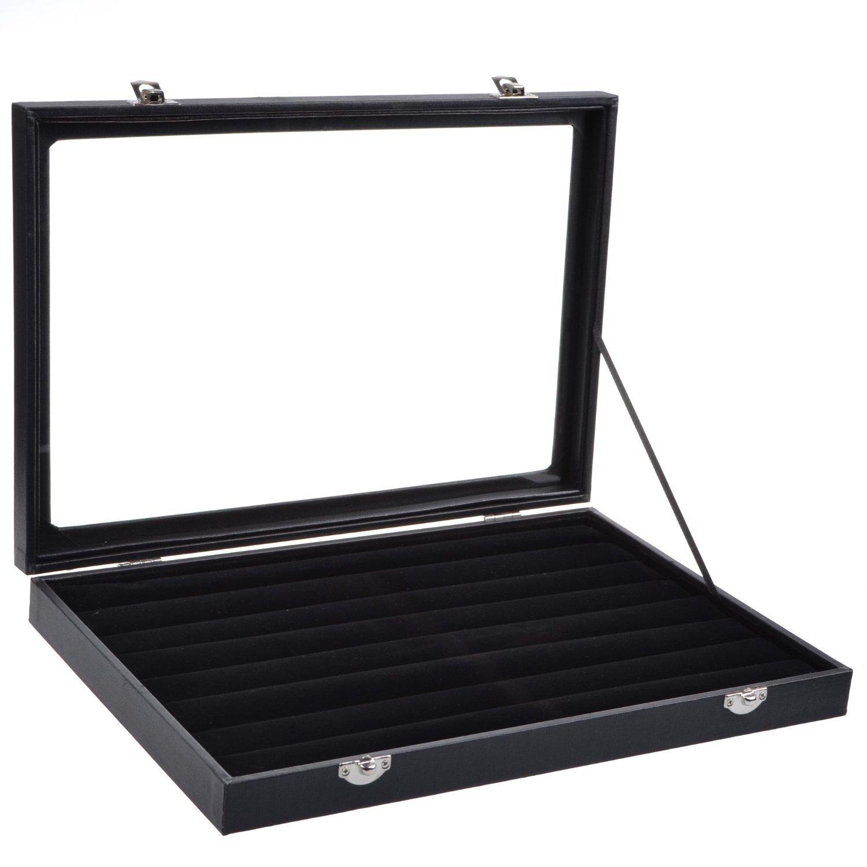 KLOUD City Black Glass Top Jewelry Display Case Ring Trays Box Organizer Holder