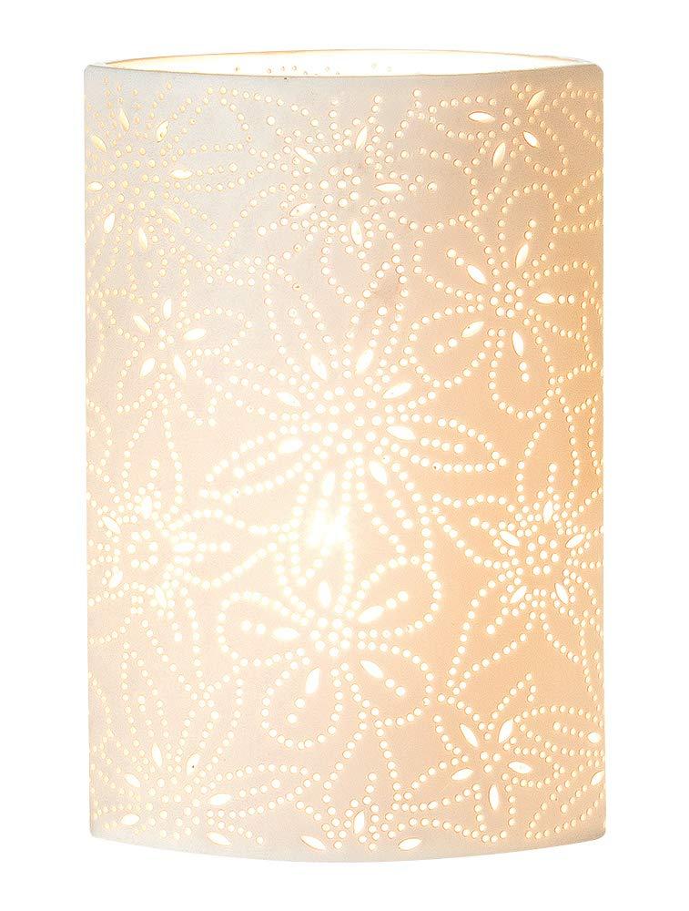 GILDE Lampe Prickel Blume - ovalförmige Porzellanlampe mit Blumenmuster im Prickellook Höhe 35 cm Breite 20 cm weiß 33117