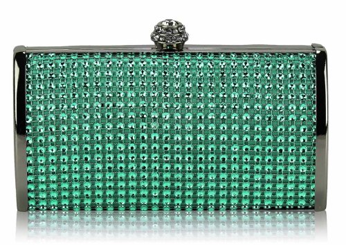 New Teal Design Women Designer Bag 1 Ladies With Hardcase Look Box Hard Luxury Case Sparkly Clutch Diamante Chain Evening Handbag xqw7HYRz