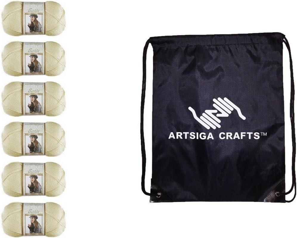 Bernat Knitting Yarn Satin Solid Silk 6-Skein Factory Pack (Same Dyelot) 164104-4007 Bundle with 1 Artsiga Crafts Project Bag