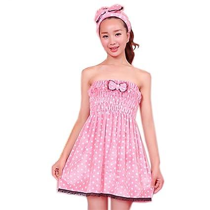 Franela Toalla De Baño Toalla de diseño de lazo de pijama Summer rosa y toalla blanca