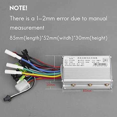 Kunray Electric Bike Controller 36V/48V/24V Controller Electric Scooter 250W/350W Brushless Motor Controller with Reverse Throttle Grip (24v 350w only ...