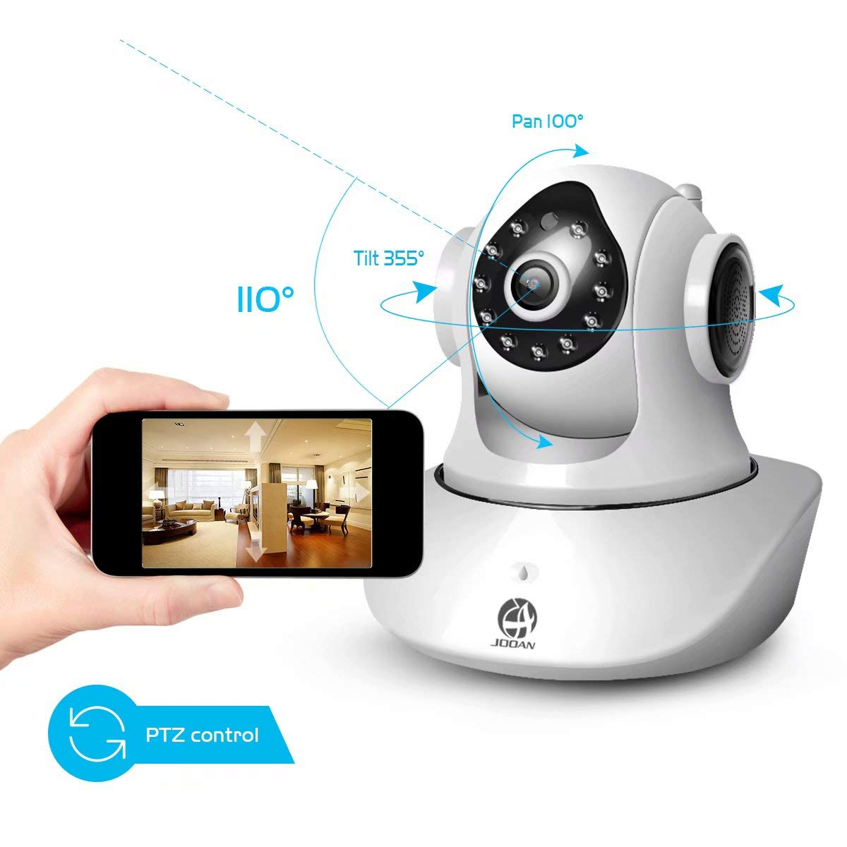 JOOAN WiFi Security Camera Wireless IP Camera with Two-Way Audio Night Vision 720P Camera for Pet Baby Monitor by JOOAN (Image #5)