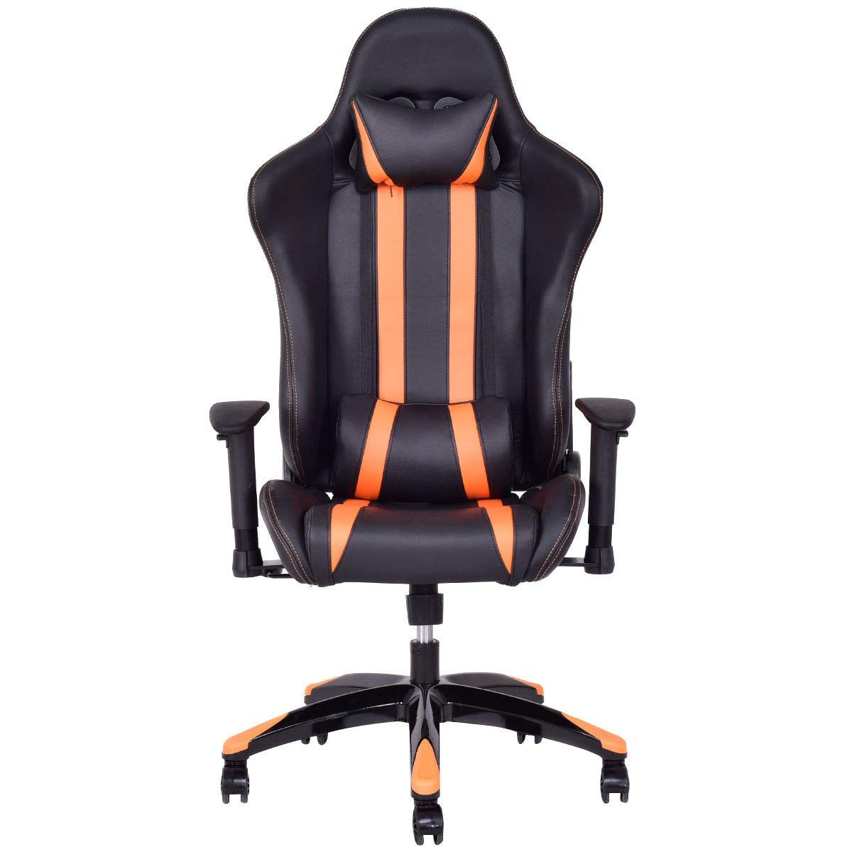 Dayanaprincess High-Back Reclining Racing Gaming Chair with Head-Rest Pillow Contemporary Design Comfortable Seat with Armrest Solid Construction Workstation Home Office Furniture (Orange) by Dayanaprincess (Image #2)