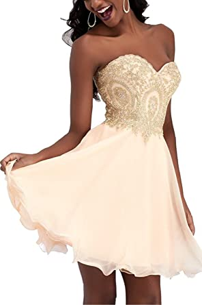 1f37ab5819c4c Image Unavailable. Image not available for. Color: LiCheng Bridal Gold Lace  Appliques Sweetheart Short Prom Dresses Homecoming Party Dress Champagne US8