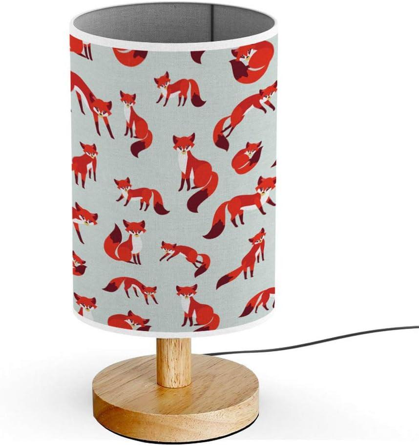 Cute Fox Hedgehog ARTSYLAMP Wood Base Decoration Desk Table Bedside Light Lamp