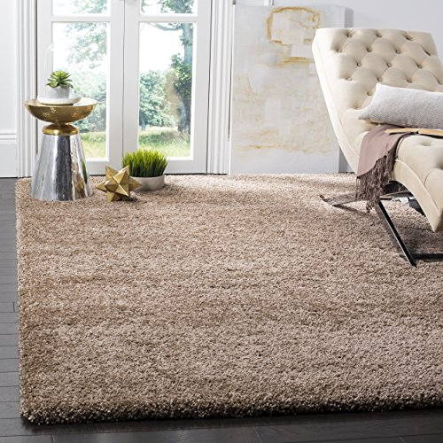 Safavieh Milan Shag Collection SG180-1414 Dark Beige Area Rug (3' x 5') (Accent Teal Pieces)