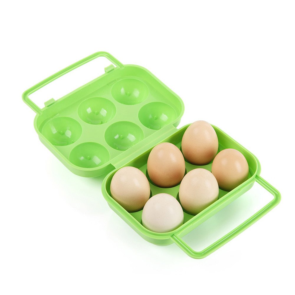 Quaanti Portable Container Holder Folding Egg Storage Box Handle Case,Plastic Covered Egg Tray Holder,Storage Container and Organizer for Refrigerator,Carrier Bin with Handle,Holds 6 Eggs (Green)