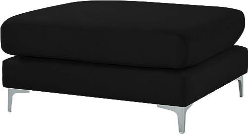 Meridian Furniture 605Black-Ott Julia Collection Modern   Contemporary Velvet Upholstered Modular Ottoman
