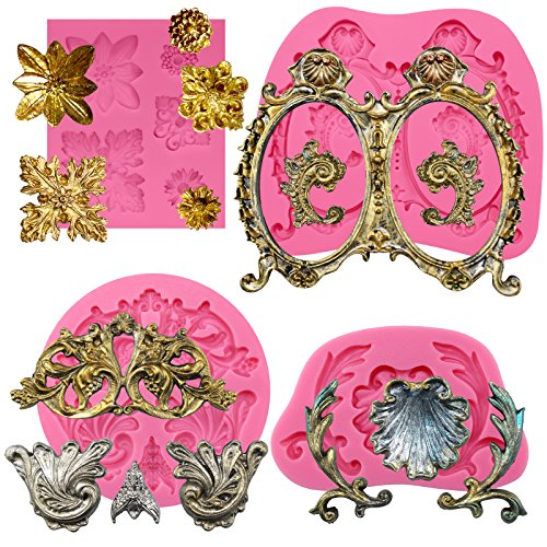 FUNSHOWCASE Floral Acanthus Medallion Flourish Scroll Lace Fondant Silicone Molds for Cake Decoration, Polymer Clay Crafting Projects 4-Count