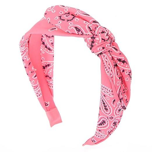 Claire s Girl s Paisley Bandana Headband - Neon Pink at Amazon ... cc578d83095