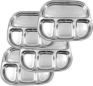 IndiaBigShop Stainless Steel Oval Shape 4 compartment Thali Mess Trays For Lunch and Dinner, Cafeteria Food Tray, Oval Steel Plates, Mess tray, Indian Dinner plates - Set of 4 - 13 inch