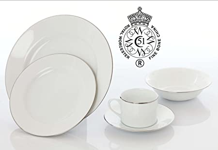 Royal Worcester Classic Platinum Silver Lined Porcelain White Dinner