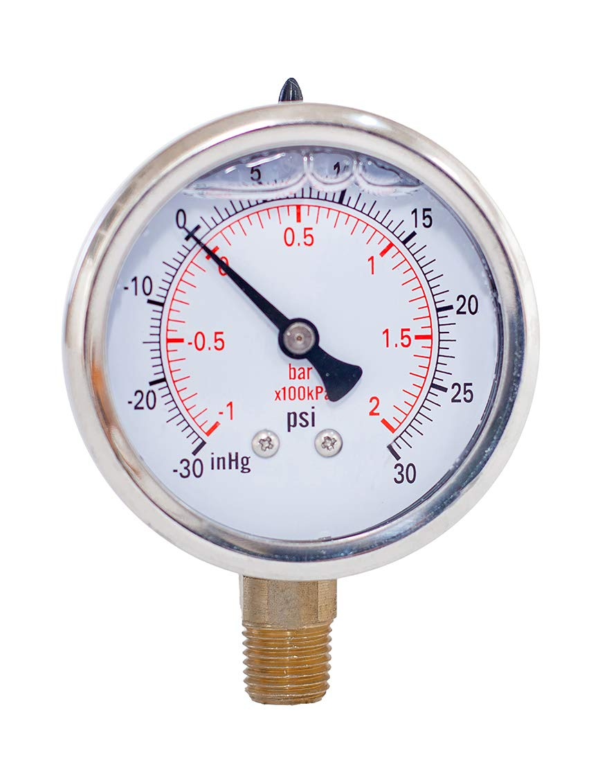 "Compound Pressure Gauge,liquied Filled,2 1/2"" face Dia,-30 inHg-30 psi/bar/kpa,1/4"" NPT Lower Mount, Polycarbonate Lens Window, Stainless Steel case"