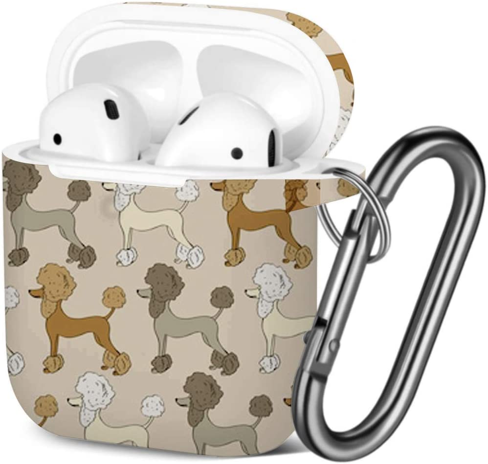 Compatible with AirPods 2 and 1 Funny Cartoon Poodle Shockproof Soft TPU Gel Case Cover with Keychain Carabiner for Apple AirPods