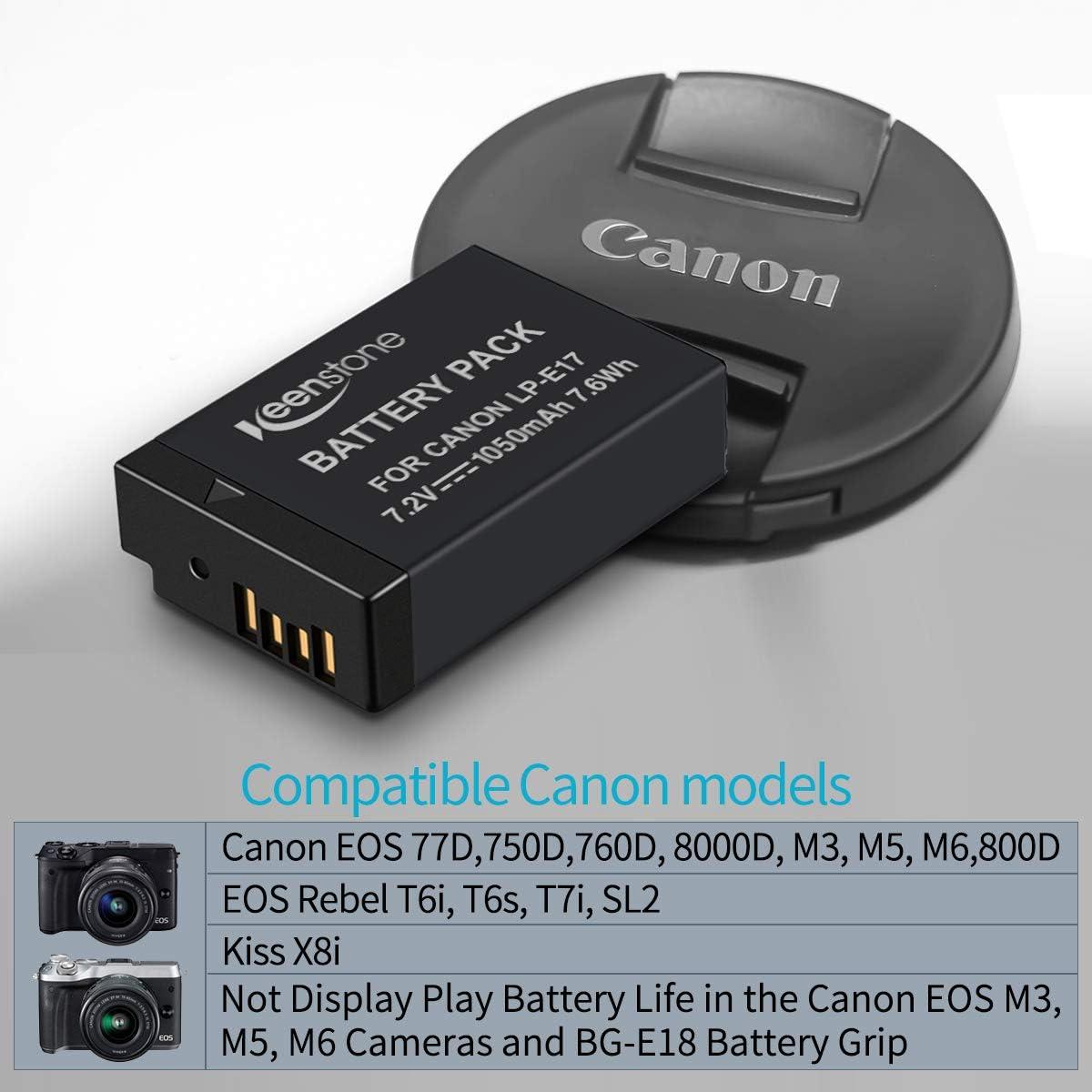 zu Canon 9967B002 Akku LP-E17 Li-Ion 1050mAh mit Restlaufanzeige f/ür Canon EOS 200D 250D 77D 800D 750D 760D Akku f/ür Canon M5 // Canon M6 // Canon RP ohne Restlaufanzeige Ladeger/ät LP-E17 komp