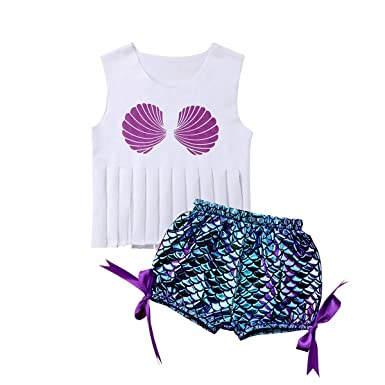 455c2c84f0 Amazon.com  Kingspinner Baby Girls Two Piece Swimsuit Tassels Sleeveless  Shell Print Tops + Fish Scale Shorts Summer Swimwear Set  Clothing