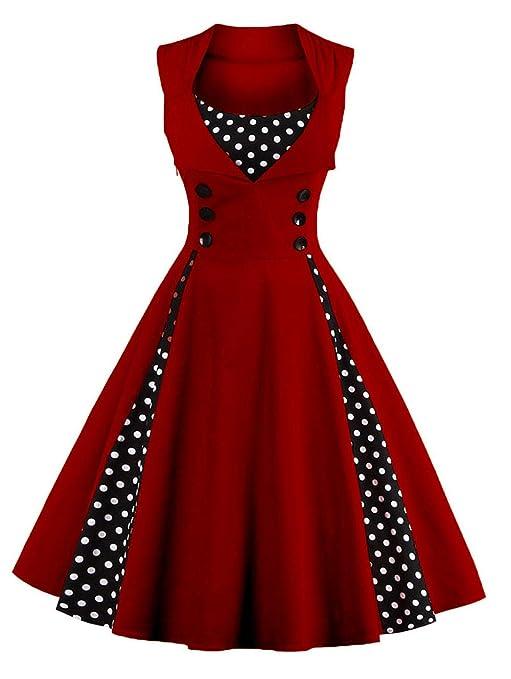 jx-dress Vestido Vintage para Mujer, Falda Grande de Punto ...