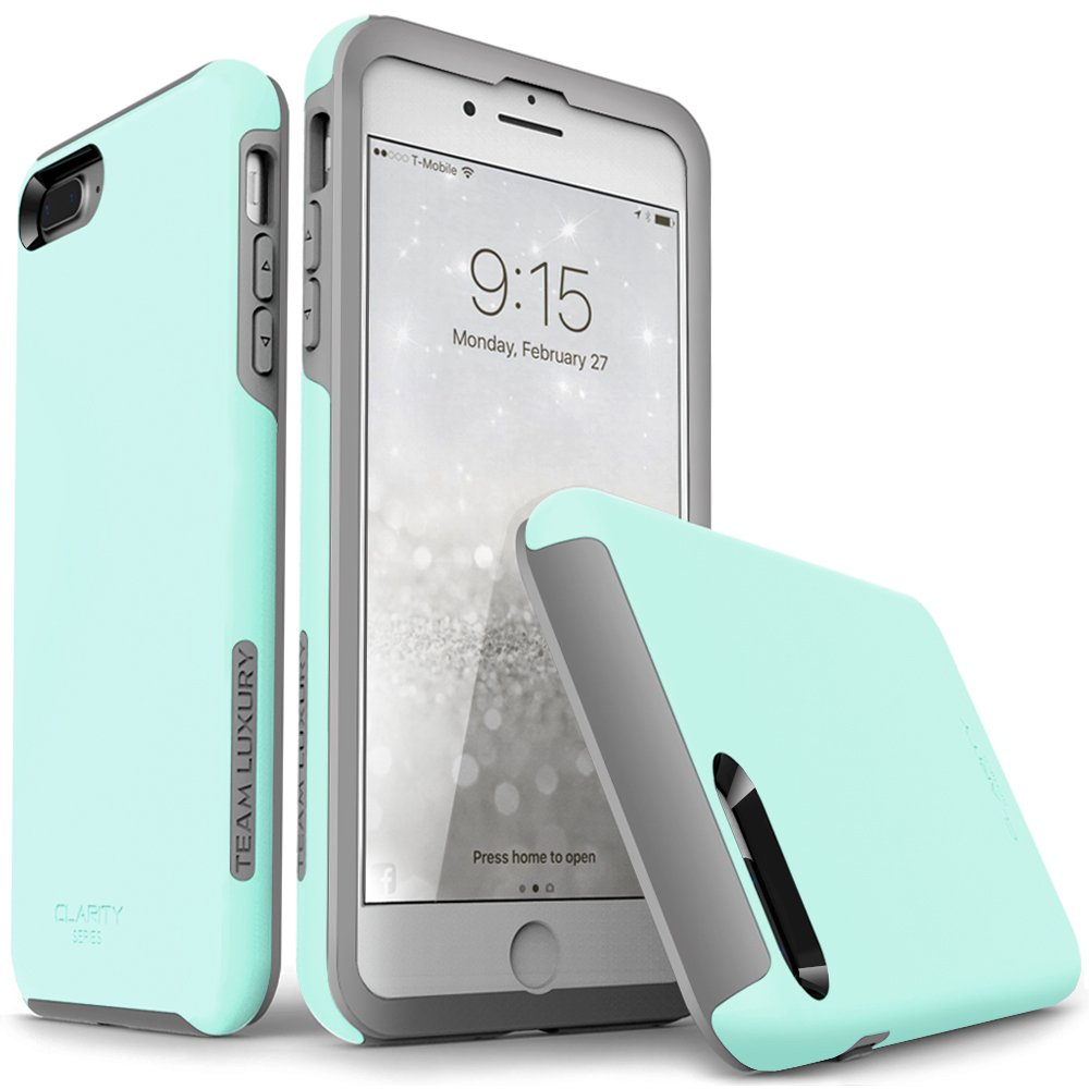 iPhone 7 Plus case, iPhone 8 Plus case, Team Luxury [Clarity Series] Updated [G-II] Mint Ultra Defender TPU + PC Shock Absorbent Protective Case Apple iPhone 7 Plus & 8 Plus (Soft Mint/Gray)