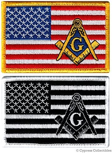 LOT of TWO MASONIC LOGO FLAG EMBROIDERED PATCHES FREEMASON SQUARE COMPASS MASON