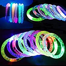 M.best 12Pcs And 12 Spare Batteries Multicolor Fluorescence Stick LED Flashing Bracelet Light Up Acrylic Bangle For Glow Party Favors Supplies
