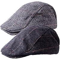 Senker 2 Pack Of Men's Classic Herringbone Tweed Wool Blend newsboy IVY Cabbie Driving duckbill Hat
