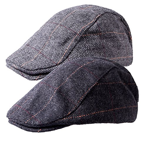 2 Pack of Men's Classic Herringbone Tweed Wool Blend Newsboy Ivy Cabbie Driving duckbill Hat (Duckbill Cap)