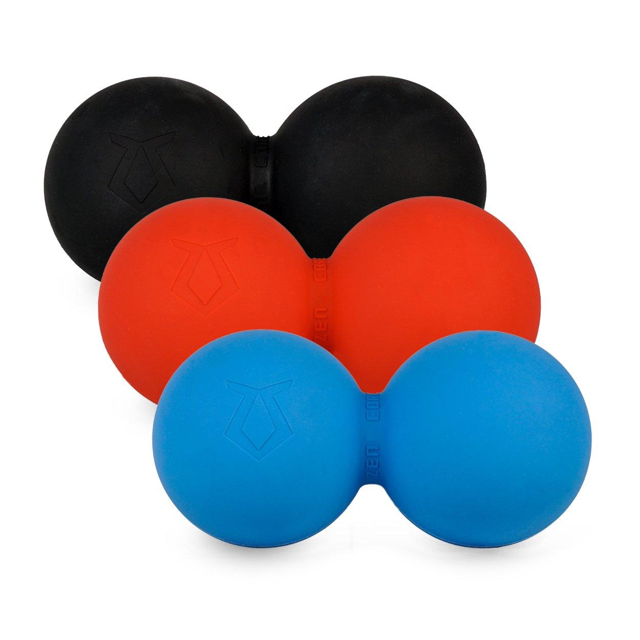 Zen Core Massage Duoball Original - Twinball Faszienrolle im 3er Pack in Schwarz, Rot, Blau aus Lacrosseball Hartgummi, Größe einzeln 13 x 6 cm für Triggerpunkt- & Faszienmassage/Physiotherapie