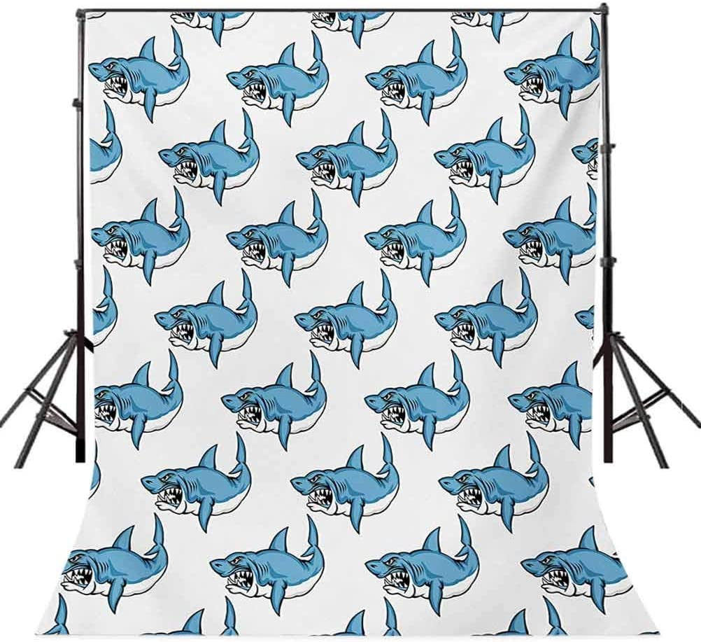 Animals 6.5x10 FT Photography Backdrop Fierce Predator Wild Shark Swimming Sharp Teeth Bite Nautical Theme Pattern Background for Photography Kids Adult Photo Booth Video Shoot Vinyl Studio Props