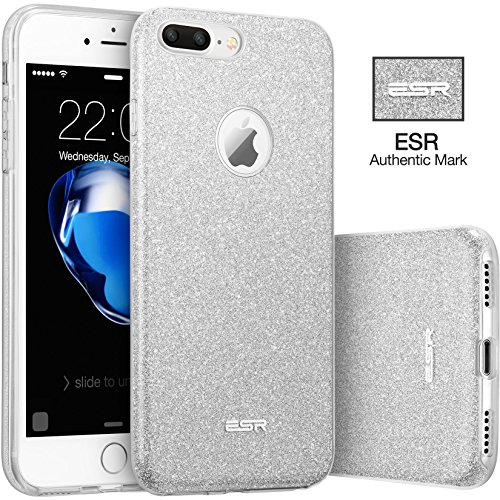 ESR iPhone 7 Plus Case,Glitter Sparkle Bling Case [Three Layer] for Girls Women [Shock-Absorption] for 5.5 iPhone 7 Plus(2016 Release)(Silver)