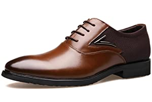 DADAWEN Men's Leather Classic Modern Oxford Wingtip Lace Dress Shoes Brown US Size 10