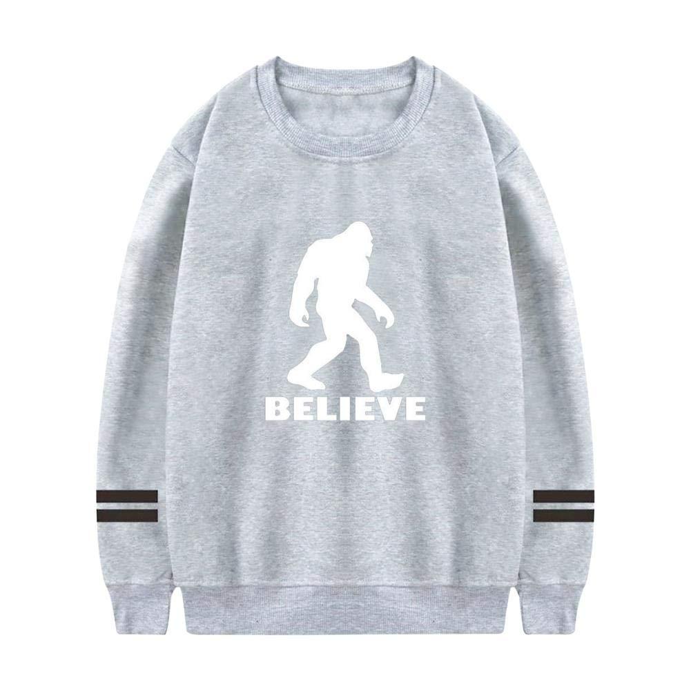XiuHongShangMAo Mens Bigfoot Believe Crewneck Athletic Sweatshirt Cotton Pullover