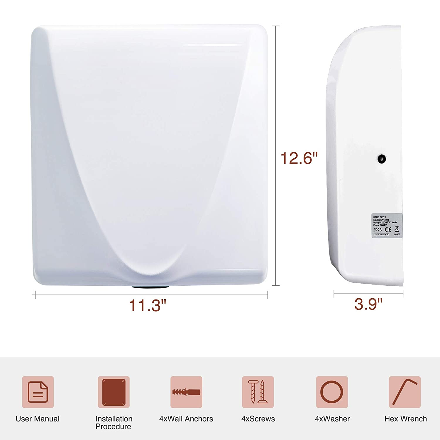 2 pcs VALENS Hand Dryer Commercial for Bathroom 1500W White Household Stainless Steel Hand Dryers 224mph with Overheat Protection System