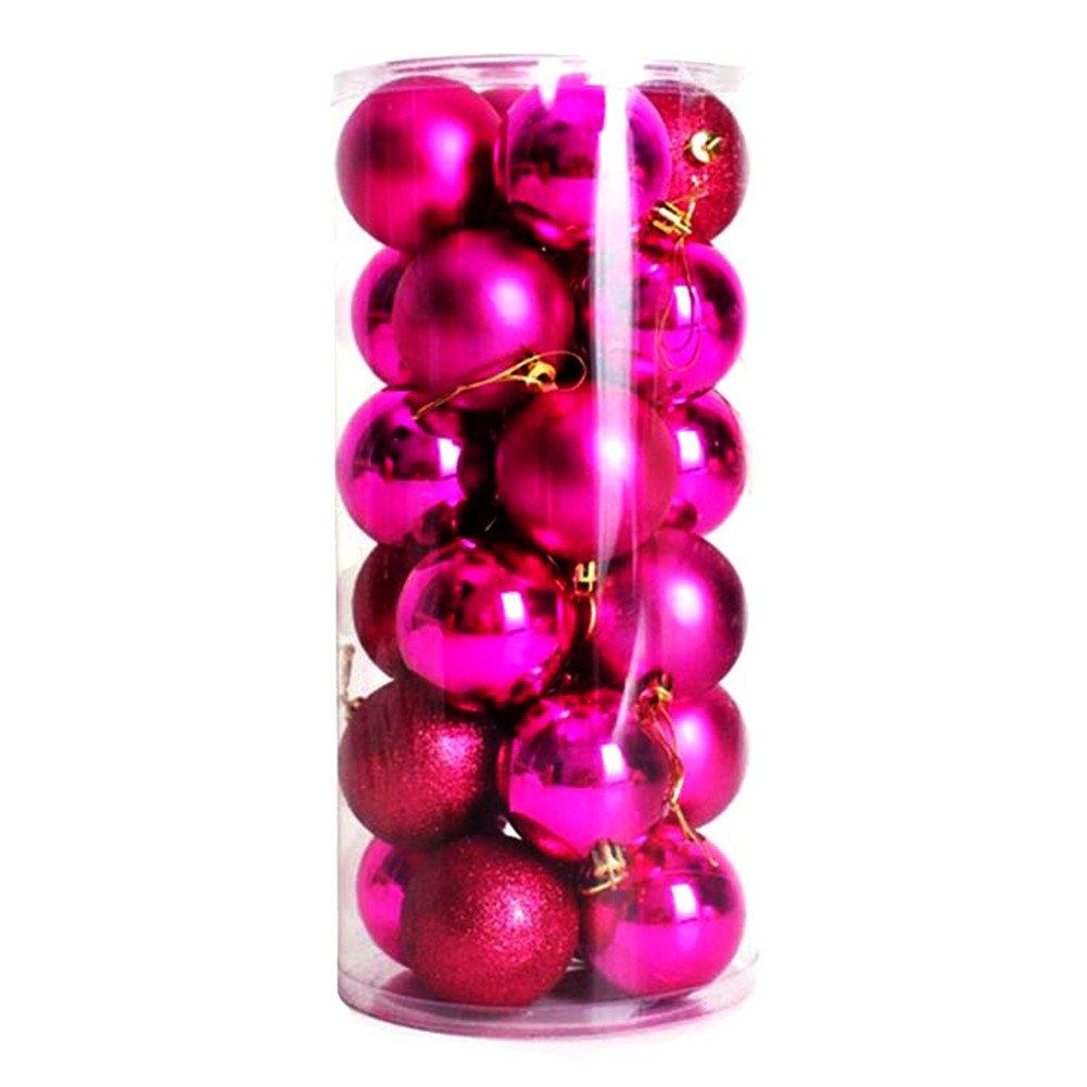 Katech 24 Pezzi di Palle di Natale 4 cm Luminosi Colorati Palle Palline di Natale Vacanza Parti Appeso Ornamento Decorazione