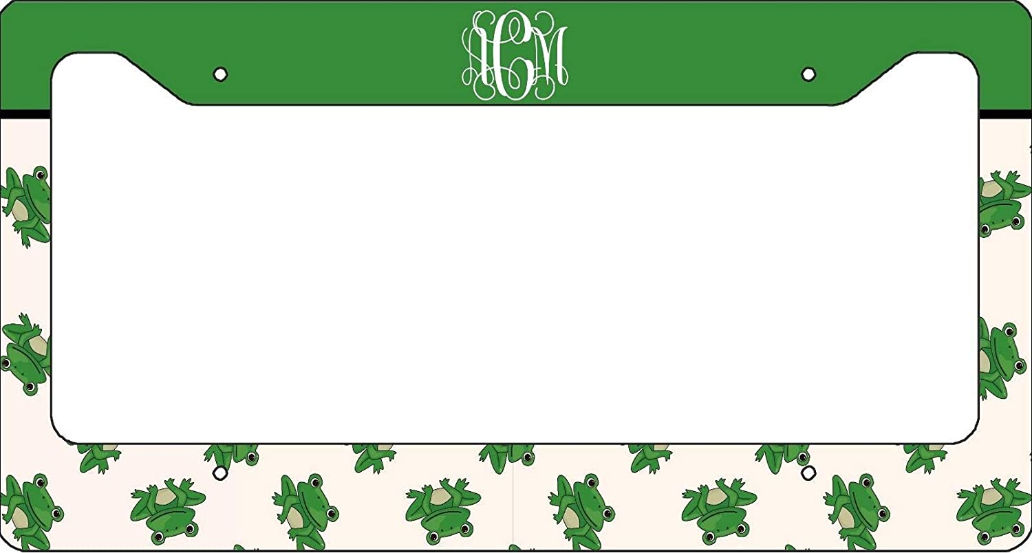 12x6 Inches Cute Green Frog Auto Car Novelty Accessories License Plate Art Monogrammed License Plate Frame