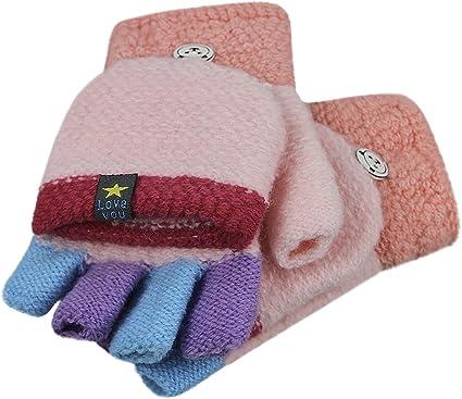 Kleinkind Kinder Baby Winter Gestrickte Fingerlose Handschuhe Mit Knopfklappenabdeckung Mehrfarbiges Patchwork Flip Top Cabrio Thermische Warme Halbfingerhandschuhe