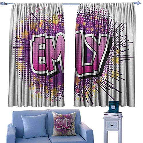 (ParadiseDecor Emily Kitchen Curtains Hugely Popular Name in English with Pop Cartoon Elements Personal,Patterned Drape for Kids Bedroom,W52 x L63)