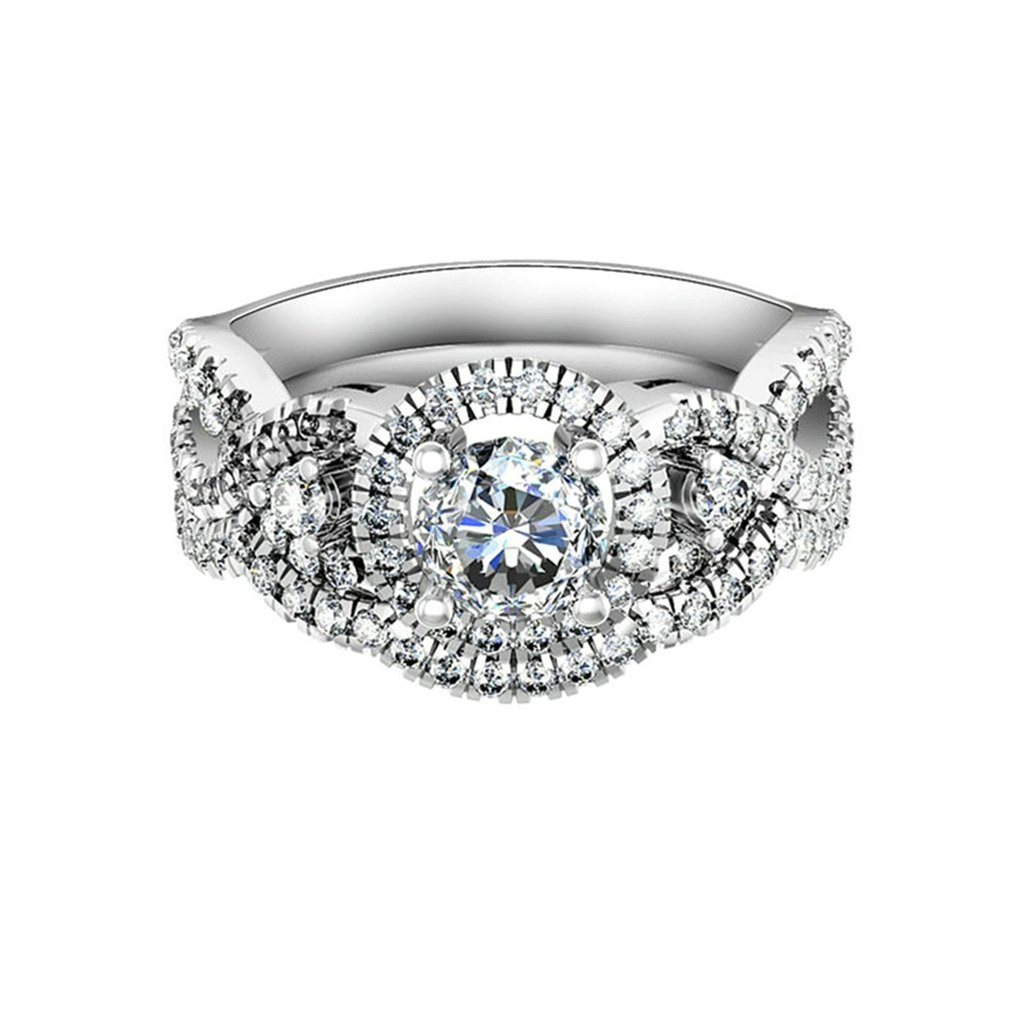 Bishilin Silver Plated Cubic Zirconia Halo Wedding Rings Silver For Women Size 6